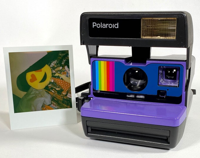 Refreshed Working Polaroid 600 OneStep - purple , blue, and a rainbow - With Built-In Close Up And Flash