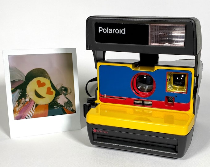 Ready For Fun! Upcycled Yellow, Blue and Red Polaroid 600 OneStep
