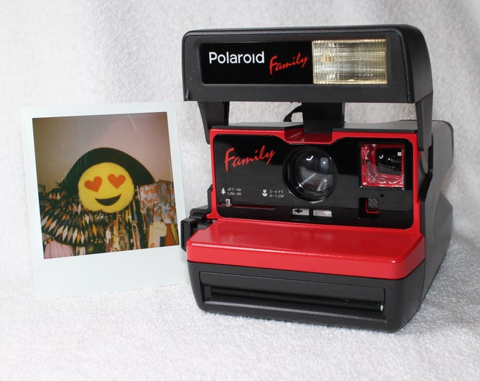 "Upcycled Red Polaroid ""Family"" 600 OneStep With Close Up And Flash Built-In"