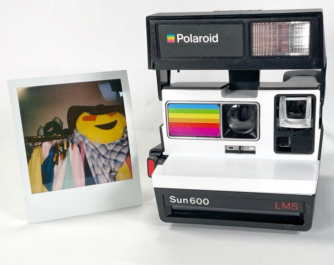 Polaroid Sun 600 with Upcycled White and rainbow face - Refreshed, Cleaned and Tested