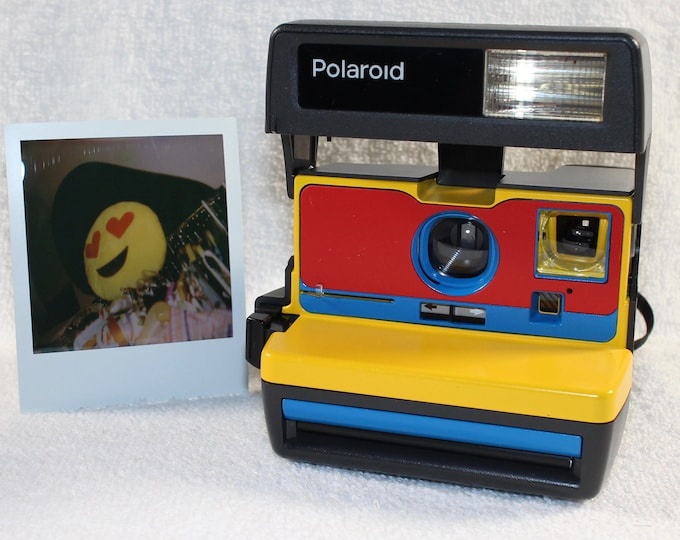 Ready For Fun! Upcycled Yellow, Red and Blue Polaroid 600 OneStep