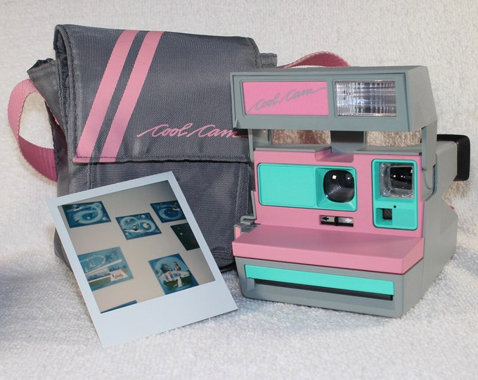 Pink CoolCam 600 Polaroid Camera and Bag - Upcycled with Retro Green - Cleaned and Tested