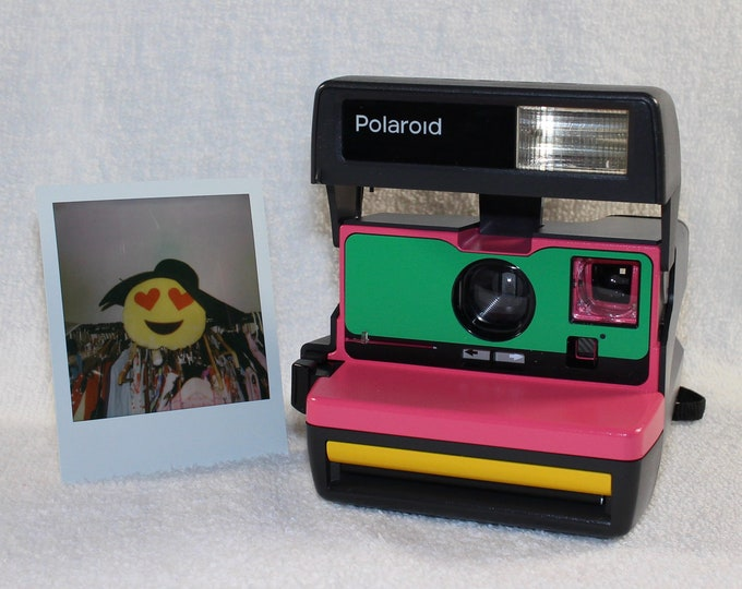 Upcycled Pink, Green and Yellow Polaroid 600 OneStep with CloseUp - Cleaned and Tested