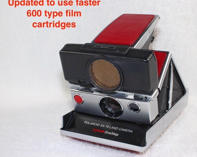 Rebuilt Polaroid SX70 Sonar Autofocus  - Updated to use 600 Film Cartridges and New Red Skins