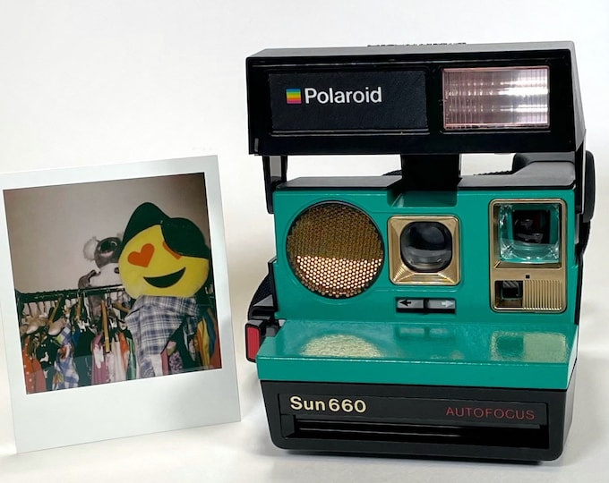 Polaroid 660 AutoFucus Upcycled Emerald Green and Gold - Refreshed, Cleaned, Tested and Ready for Fun