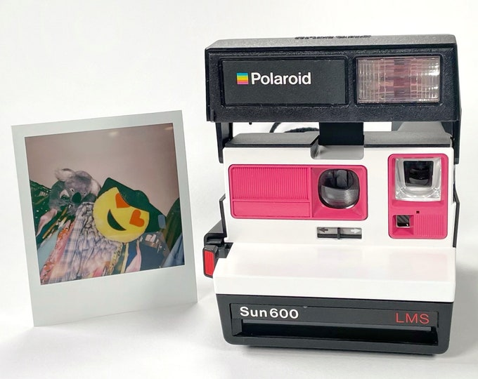 Polaroid Sun 600 with Upcycled White and Pink - Refreshed, Cleaned and Tested