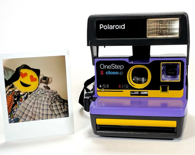 Purple & Yellow Polaroid 600 OneStep - Refreshed, Cleaned, Tested, and Ready For Fun