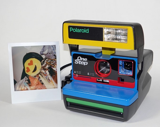 Color Block Upcycled Polaroid 600 OneStep With Close Up And Flash Built-In
