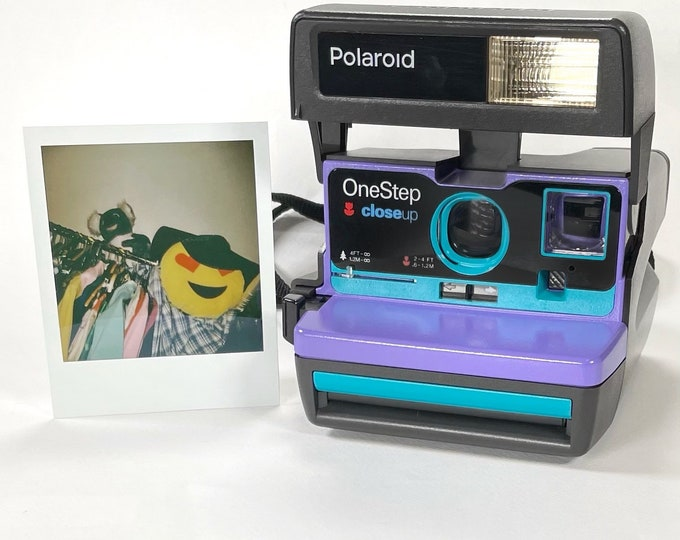 Purple & Turquoise Polaroid 600 OneStep - Refreshed, Cleaned, Tested, and Ready For Fun