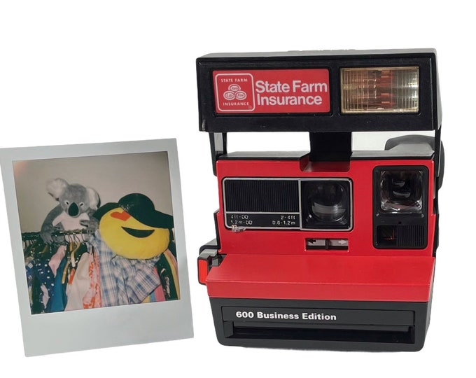 Original Fully Working State Farm Polaroid Sun 600 Business Edition With Close Up And Flash Built-In