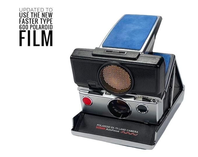 Rebuilt Polaroid SX70 Sonar Autofocus  - Updated to use 600 Film Cartridges and New Blue Skins