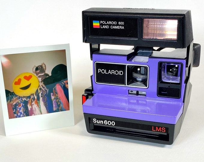 Polaroid Sun 600 with Upcycled red and purple face - Refreshed, Cleaned and Tested