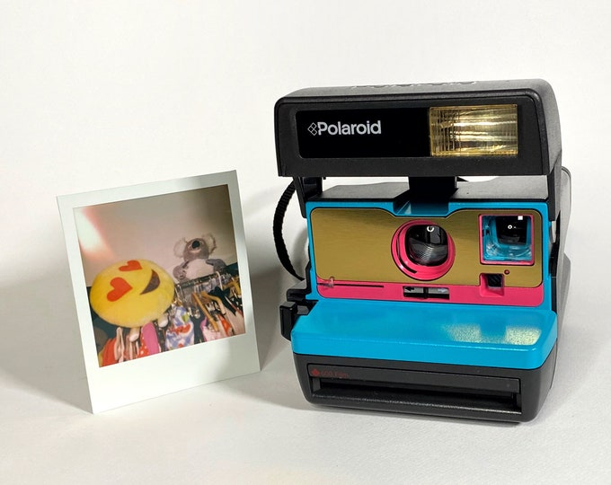 Upcycled Turquoise, Brushed Gold and Pink Polaroid 600 OneStep With Close Up lens and Flash Built-In - Ready To Use