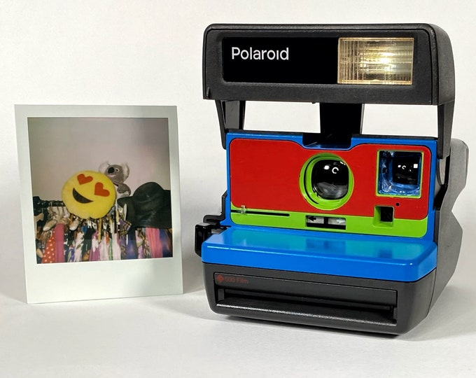 Blue, Red & Green Polaroid 600 OneStep - Refreshed, Cleaned, Tested, and Ready For Fun