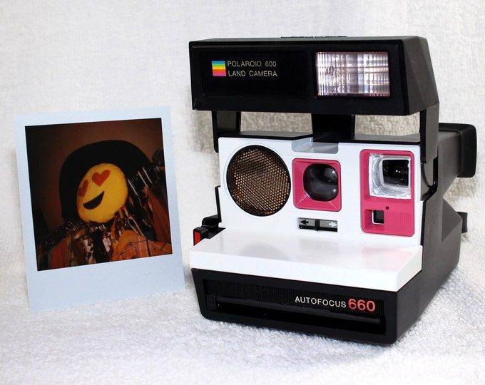 Polaroid 660 AutoFucus Upcycled White and Pink - Cleaned, Tested and Ready for Fun