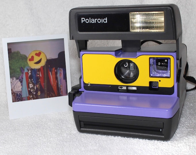 Ready To Go! Upcycled Purple and Yellow Polaroid 600 OneStep