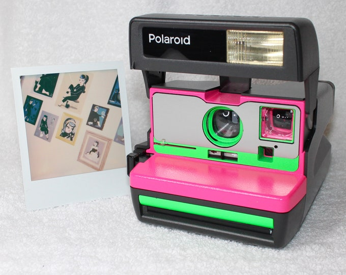 Neon Pink and Green Upcycled Polaroid 600 OneStep With Close Up And Flash Built-In