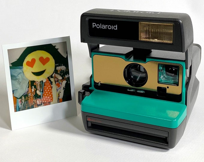 Emerald Green and Brushed Gold Polaroid 600 OneStep - Refreshed, Cleaned, Tested, and Ready For Fun