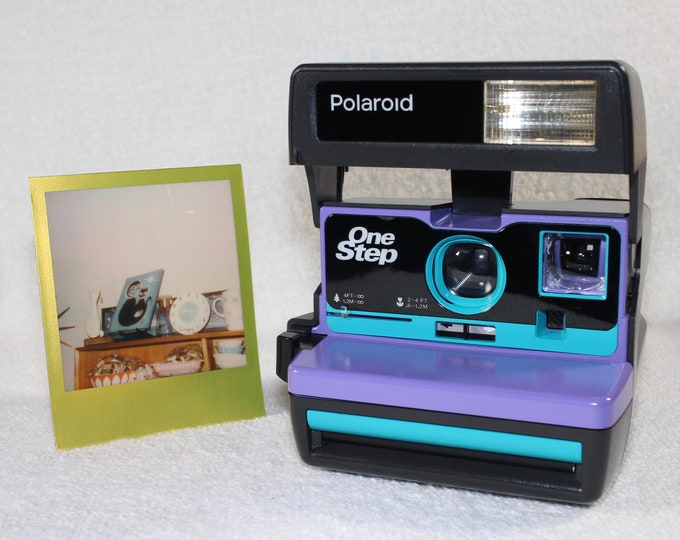 Upcycled Purple and Turquoise Polaroid 600 OneStep - Cleaned, Tested, and Ready For Fun