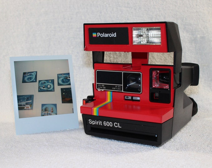 Upcycled Red Rainbow Polaroid Spirit 600CL With CloseUp Lens