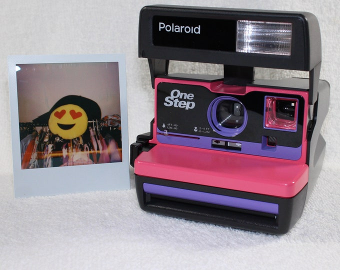 Upcycled Pink and Purple Polaroid 600 OneStep With Close Up lens and Flash Built-In - Ready To Use