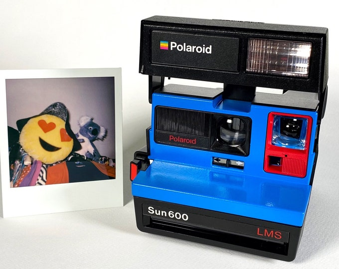 Polaroid Sun 600 with Upcycled blue and red face - Refreshed, Cleaned and Tested
