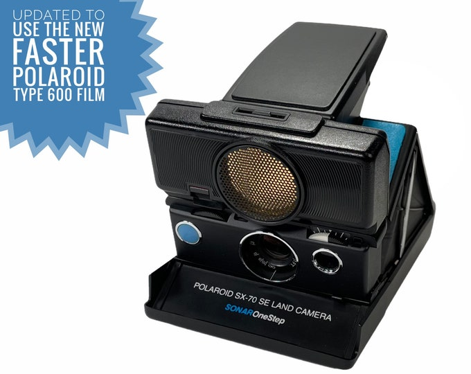 Rebuilt Polaroid SX70 SE Sonar Autofocus special black body - Updated to use 600 Film Cartridges and New Skins