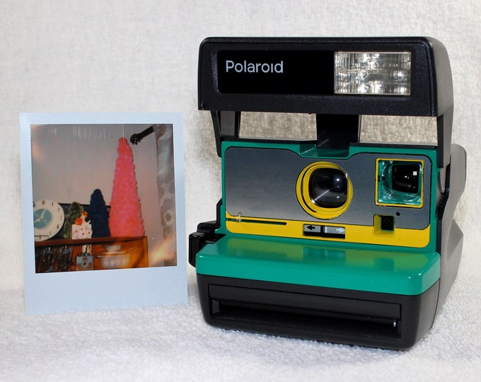 Ready To Go! Upcycled Emerald Green, Yellow and Brushed Silver Polaroid 600 OneStep
