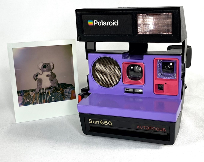 Polaroid 660 AutoFucus Upcycled Purple and Pink - Cleaned, Refreshed and Ready for Fun
