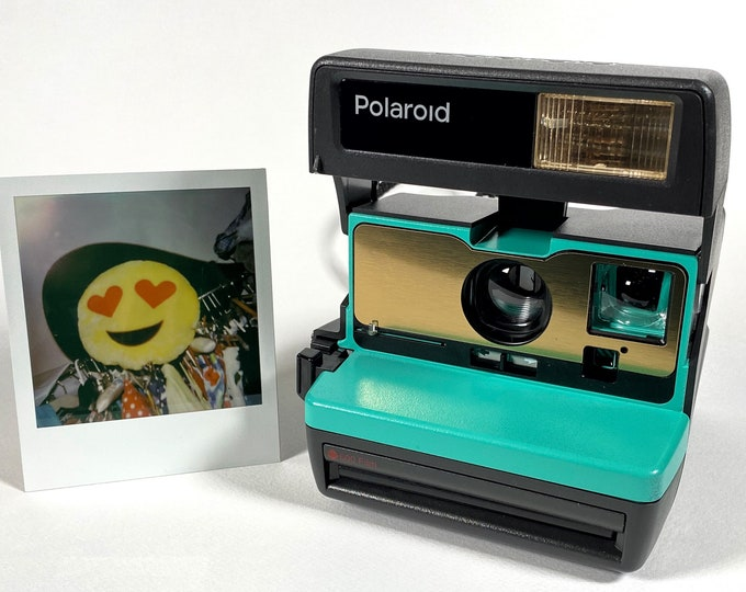 Upcycled Working Polaroid 600 OneStep - Retro Green and Brushed Gold With Built-In Close Up And Flash