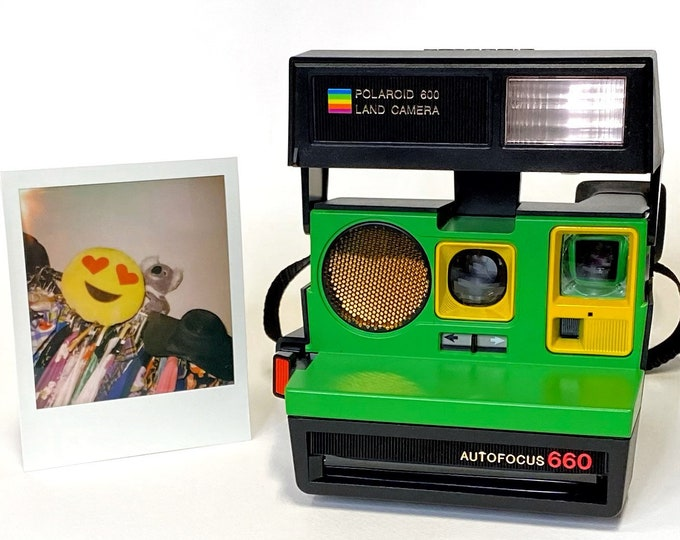 Polaroid 660 AutoFucus Upcycled Green and Yellow face - Refreshed, Tested and Ready for Fun