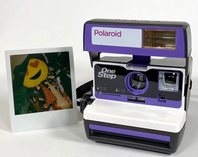 Upcycled Purple and White Polaroid 600 OneStep With Close Up And Flash Built-In