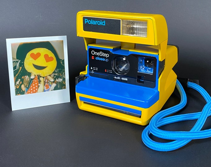Custom Built Upcycled Yellow and Blue Polaroid 600 OneStep With Special Neck Strap
