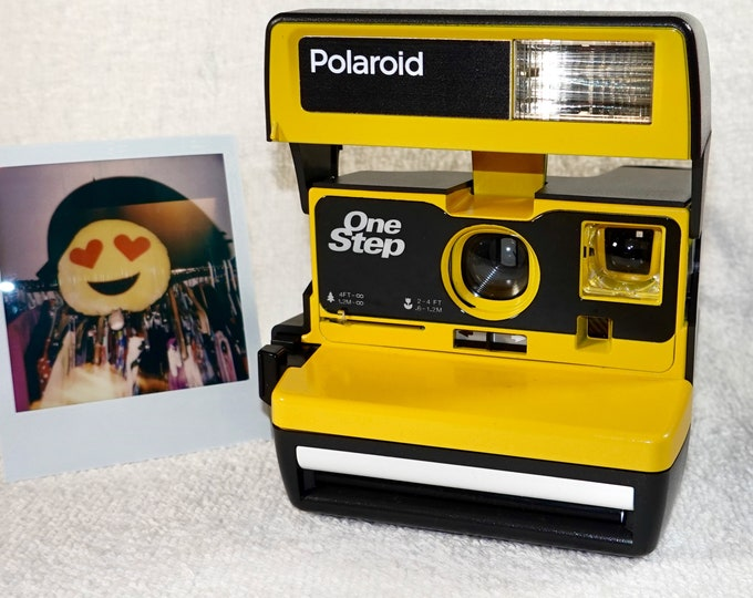 Upcycled Yellow and White Polaroid 600 OneStep With Close Up And Flash Built-In - Ready To Use