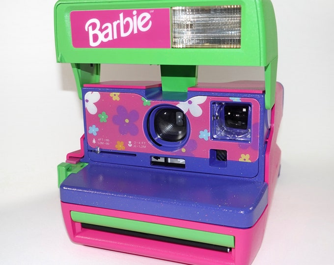 Special Upcycled Sparkle Barbie Polaroid 600 OneStep With Close Up And Flash Built-In - Ready To Use