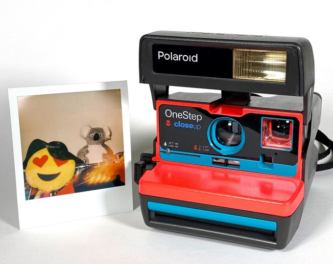 Ready To Go! Upcycled Day Glo Orange and Turquoise Polaroid 600 OneStep