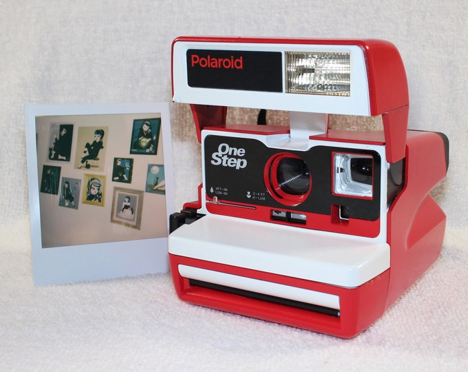 Custom Built Upcycled Red and White Polaroid 600 OneStep With Close Up And Flash Built-In