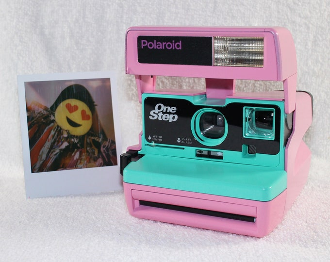 Custom Built Upcycled Light Pink and Retro Green Polaroid 600 OneStep With Close Up And Flash Built-In