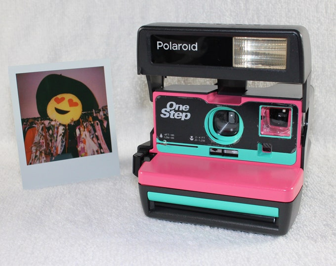 Upcycled Pink and Retro Green Polaroid 600 OneStep With Close Up lens and Flash Built-In - Ready To Use