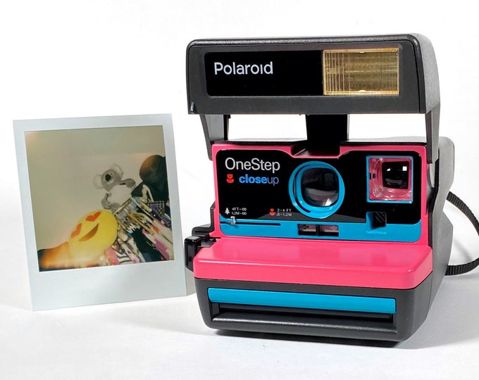 Pink and Turquoise Polaroid 600 OneStep - Refreshed, Cleaned, Tested, and Ready For Fun