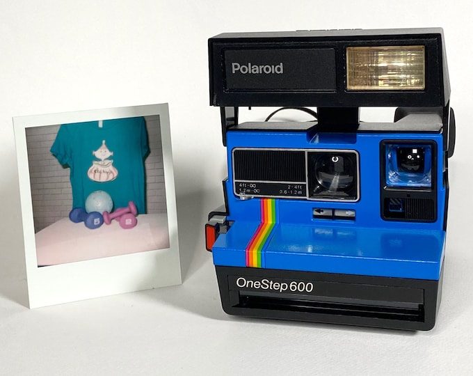 Upcycled Blue Rainbow Polaroid OneStep Flash 600 With CloseUp Lens
