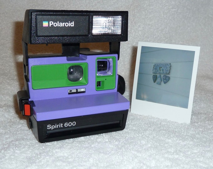 Upcycled Purple and Green Polaroid Spirit 600 - Cleaned and Tested