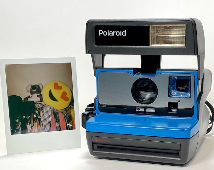 Upcycled Working Polaroid 600 OneStep - Blue and Brushed Silver With Built-In Close Up And Flash