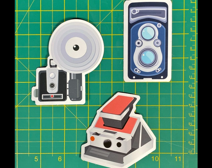 3 Vintage Cameras Magnet - bring your Polaroid captures and other creations to your fridge and more