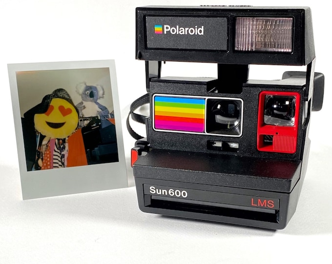 Polaroid Sun 600 with Upcycled red and rainbow face - Refreshed, Cleaned and Tested