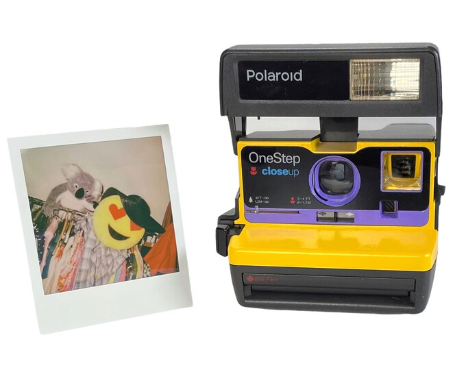 Yellow & Purple Polaroid 600 OneStep - Refreshed, Cleaned, Tested, and Ready For Fun