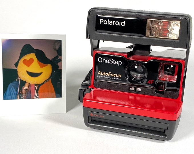 Polaroid Autofocus 600 - Cleaned, Tested - Works and Looks Great with upcycled red face