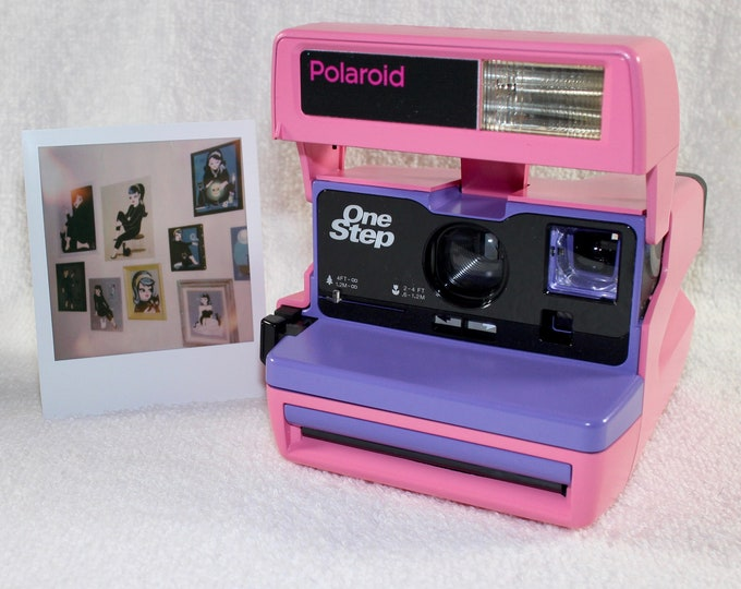 Custom Built Upcycled Pink and Purple Polaroid 600 OneStep With Close Up And Flash Built-In