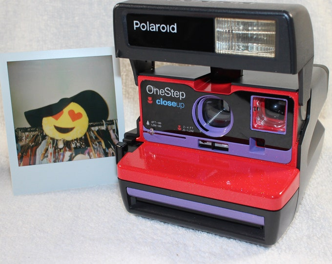 Sparkling Upcycled Red and Purple Polaroid 600 OneStep With Close Up lens and Flash Built-In - Ready To Use