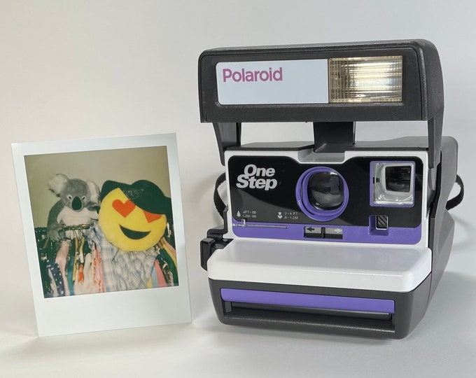 White and Purple Polaroid 600 OneStep - Refreshed, Cleaned, Tested, and Ready For Fun